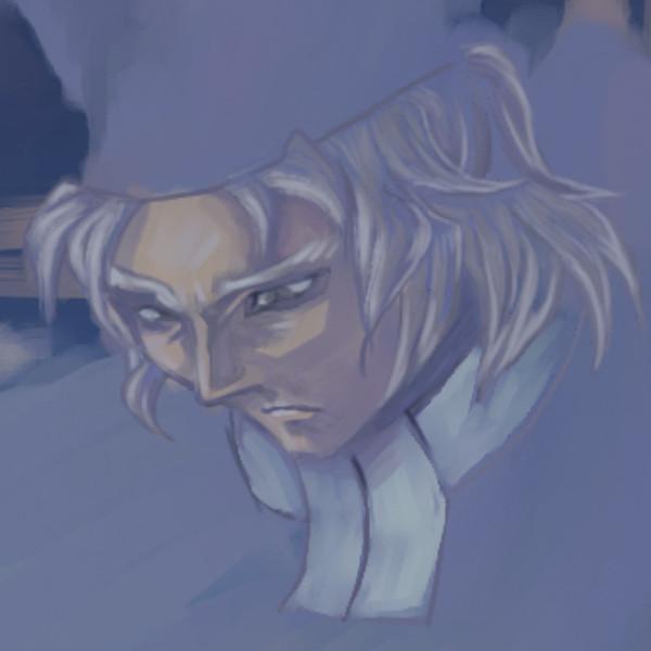 「風邪ひくぞ」の司教の顔部分の拡大図(塗り始め)