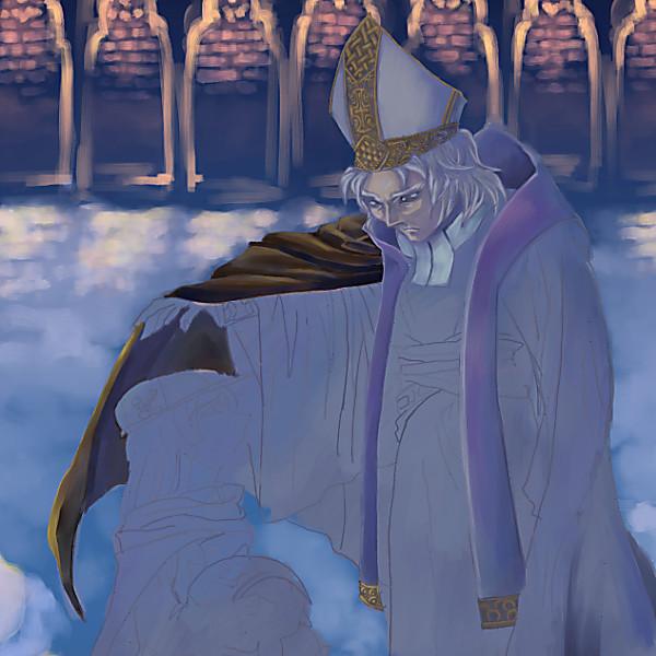 「風邪ひくぞ」の司教の色塗り中
