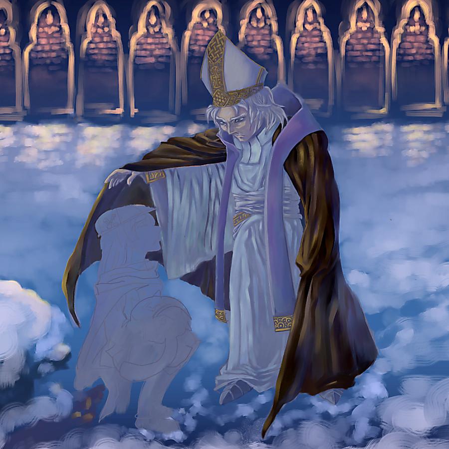 「風邪ひくぞ」の司教をほぼ塗り終わったところ